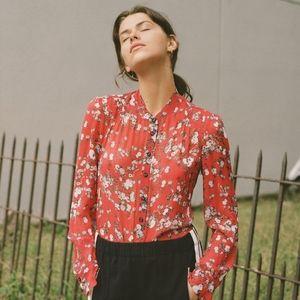 Rag & Bone Susan red floral print silk blouse